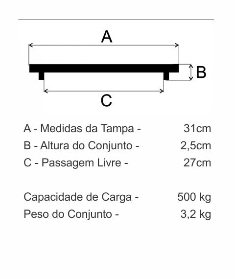 Tampão Aterramento (31Cm) Em Ff - FUNDIÇÃO VESUVIO