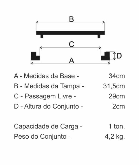 Tampão Caixa De Gordura Com Aro (31,5Cm) Em Ff - FUNDIÇÃO VESUVIO