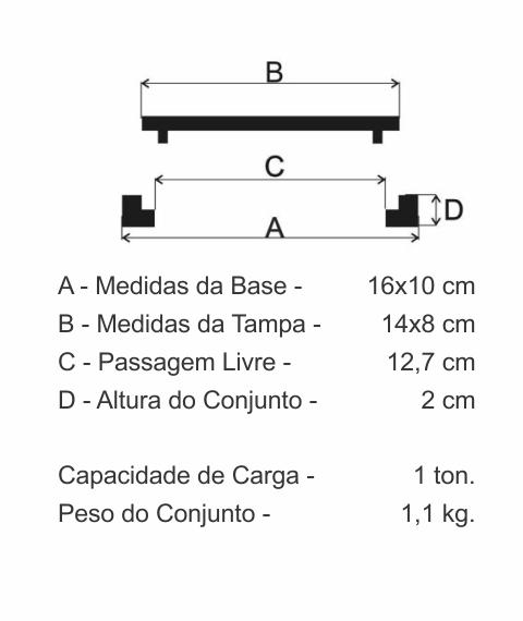 Tampão Caixa De Passeio (14X8Cm) Em Ff - FUNDIÇÃO VESUVIO