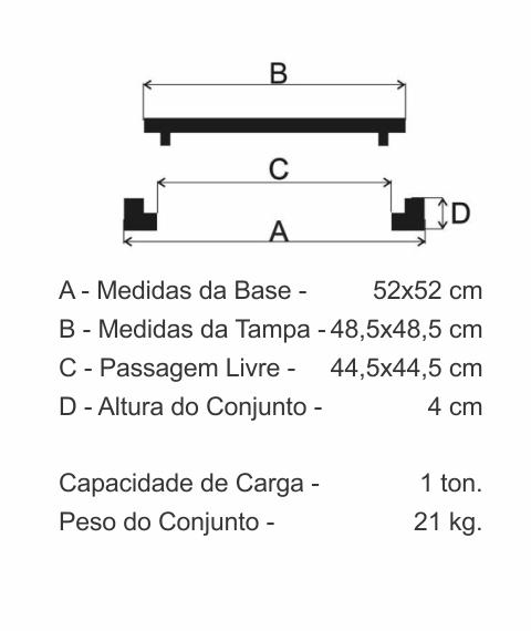 Tampão 50X50Cm Cisterna Articulado C/ Porta Cadeado Em Ff - FUNDIÇÃO VESUVIO