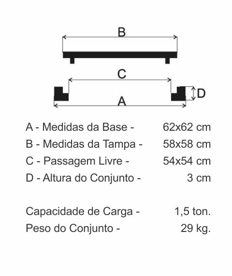 Tampão 60X60Cm Cisterna Articulado C/ Porta Cadeado Em Ff - FUNDIÇÃO VESUVIO
