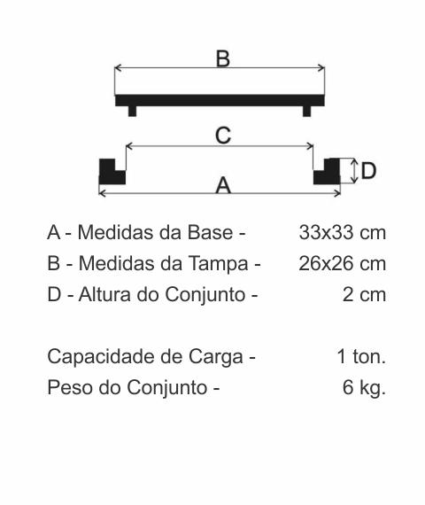 Tampão Cp02 Caixa De Passagem (29,3X29,3Cm) Em Ff - FUNDIÇÃO VESUVIO