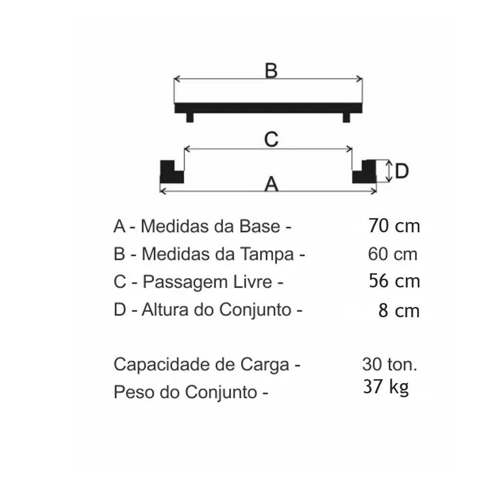 Tampão Dn600 Articulado Cl300 (60Cm) Em Ffn - FUNDIÇÃO VESUVIO