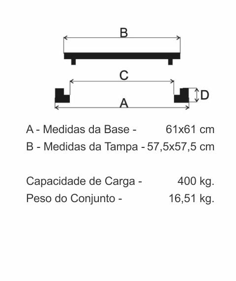 Tampão 60X60Cm Dupla Vedação Em Ff - FUNDIÇÃO VESUVIO