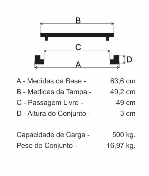 Tampão T55 Articulado Leve (49,2Cm) Em Ff - FUNDIÇÃO VESUVIO