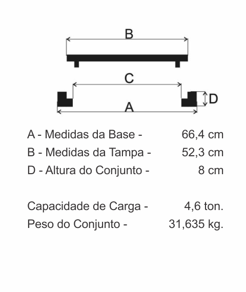 Tampão T60 Aro Alto Simples Leve (52,3Cm) Em Ff - FUNDIÇÃO VESUVIO