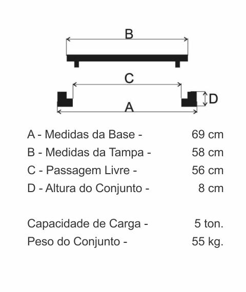 Tampão T60 Articulado Pesado (58Cm) Em Ff - FUNDIÇÃO VESUVIO