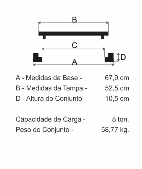 Tampão T70 Articulado (52,5Cm) Em Ff - FUNDIÇÃO VESUVIO
