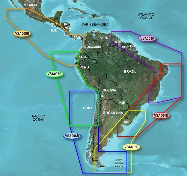 Mapa Garmin Carta nautica G2 Bluechart 3D Americal do Sul  - HARDFAST INFORMÁTICA