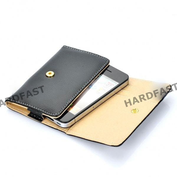 Capa Carteira Iphone 5 4 4s 3gs 3 Ipod Celular Couro Pu Black Galaxy s2  Nokia Iphone Mp3  - HARDFAST INFORMÁTICA
