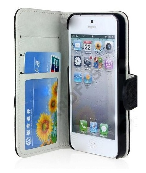 Capa Carteira Iphone 5 Couro Pu Preto ou Branco Celular  - HARDFAST INFORMÁTICA