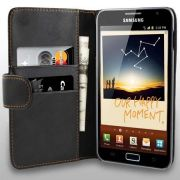 Capa Carteira Galaxy Note n7000 i9220 Couro PU Samsung Black