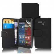 Capa Carteira Motorola X couro Slot 3 cartões Dinheiro Documentos