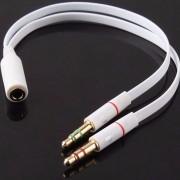 Cabo Adaptador P3 Femea (02 combo) 2x P2 Macho Audio Microfone Headset Fone de Ouvido
