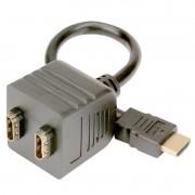 Cabo Divisor HDMI 1 Entrada 2 Saídas Splitter Conector Gold