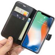 Capa Carteira Iphone X 10 Luxo Capinha Case + Película Gel