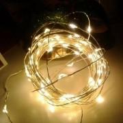 Fio De Led 5 Metros Arame 50 Leds Decoração Natal Pilha Prova Agua Casamento