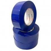 Fita Adesiva 3x Rolos de 200 metros Azul p/ caixas Pacotes Demarcação Alta qualidade