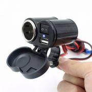 Tomada Usb 12v e 5V P/ Moto Carregador Celular Waze Gps