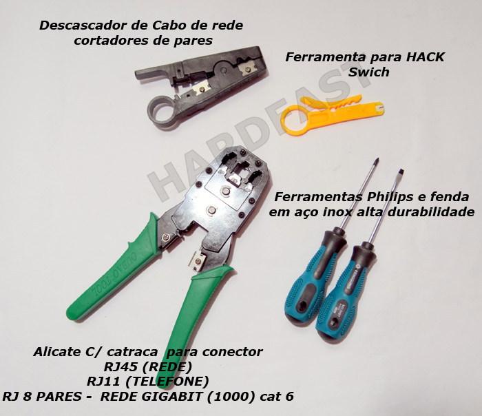 Kit Estojo Ferramentas Rede Cabo Test Link Alicate cat6 RJ45  - HARDFAST INFORMÁTICA