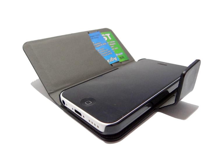 Capa Carteira iPhone 5c Couro Cartões Case Película Grátis  - HARDFAST INFORMÁTICA