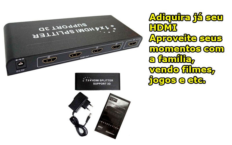 Adaptador Splitter Cabo Hdmi 1x4 Divisor Full Hd 1.4 3d Duplicador tranforma 1 em 4  - HARDFAST INFORMÁTICA