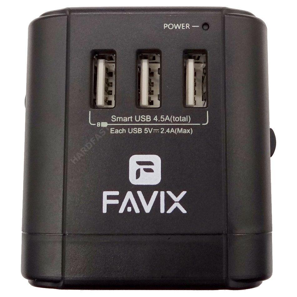 Adaptador Tomada Favix Universal 3x USB 2.4a Europa América Ásia Oceania WTA-01  - HARDFAST INFORMÁTICA