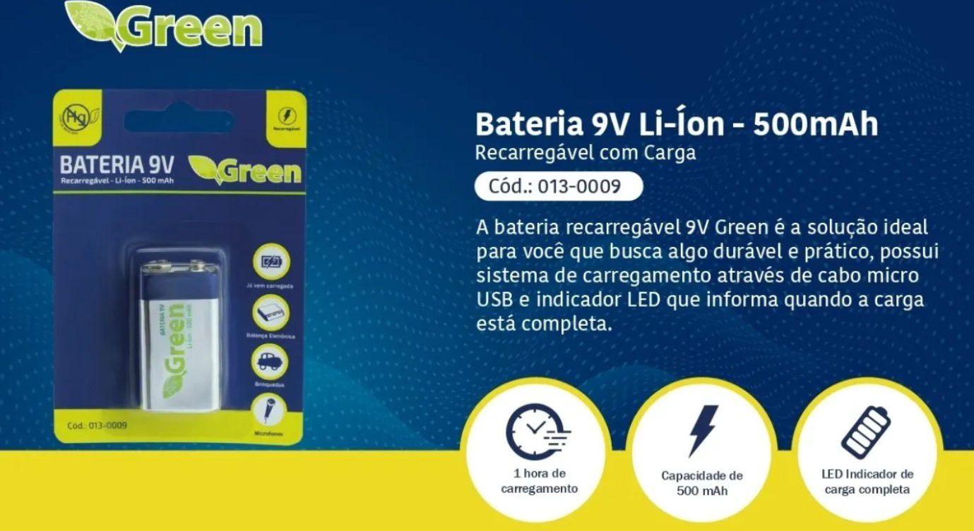 Bateria 9v Recarregável Pilha Genuína 500ma C/ Carga Micro Usb Led  Favix  - HARDFAST INFORMÁTICA