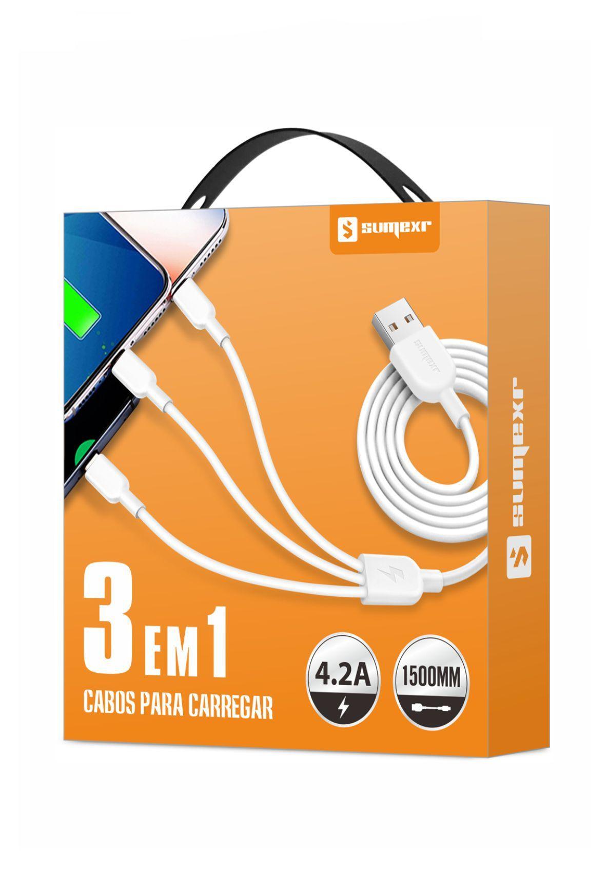 Cabo Carregador 3x1 Usb Micro Tipo C iPhone Android Qualidade Universal 4.2A Favix  - HARDFAST INFORMÁTICA