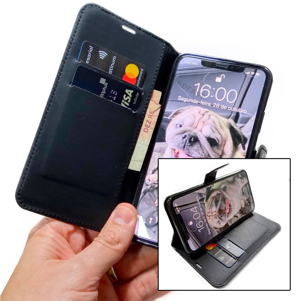 Capa carteira Iphone 11 / 11 Pro / 11 Pro Max + Pelicula Gel Kit limpeza Wlxy  - HARDFAST INFORMÁTICA