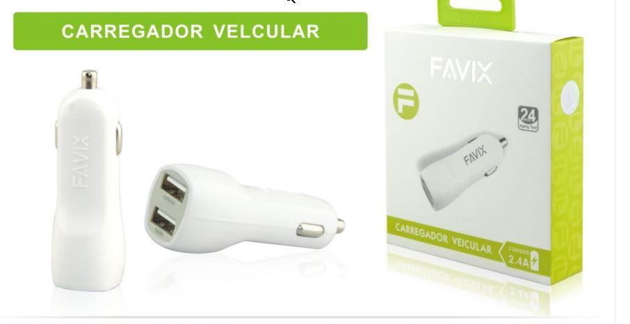Carregador Veicular Favix 2x Usb 2.4A 12v Universal Isqueiro Android e Iphone  - HARDFAST INFORMÁTICA