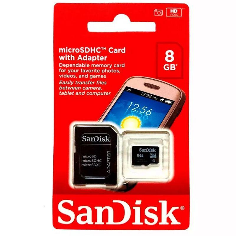 Cartão Memoria Micro Sd 8Gb C/ Adaptador Original Box Classe 4  - HARDFAST INFORMÁTICA