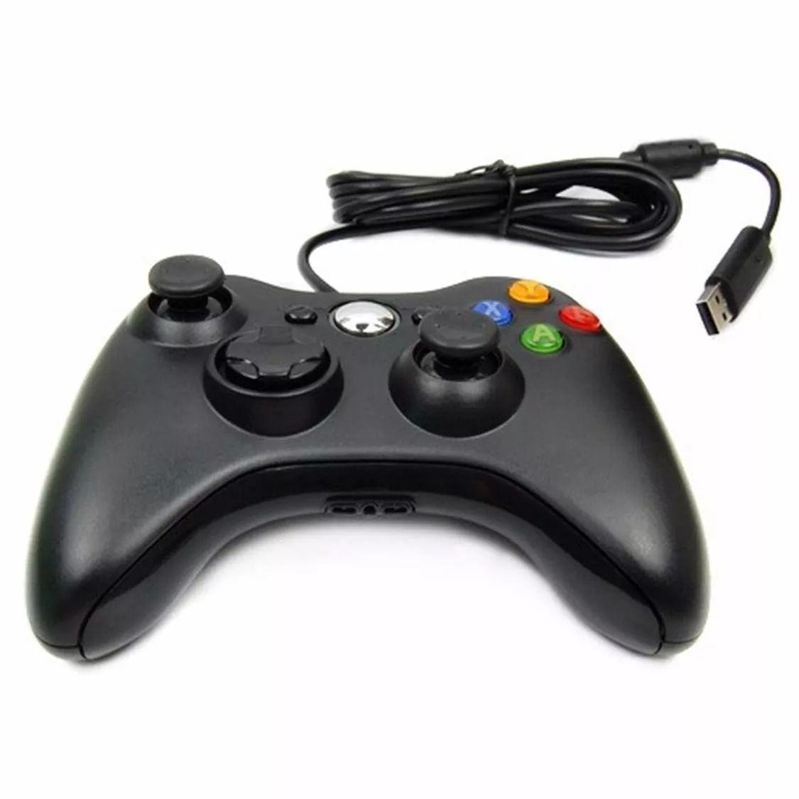 Controle Com Fio Xbox 360 Pc Computador 2 metros Cabo USB X-box Notebook  - HARDFAST INFORMÁTICA