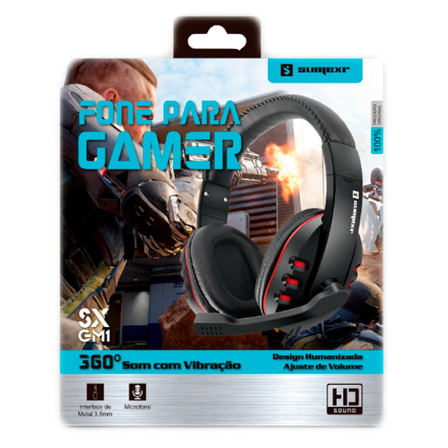 Fone de Ouvido Gamer SumeXr SX-GM1 p3 Com adaptador 2x p2 Stereo com fio Headset  - HARDFAST INFORMÁTICA