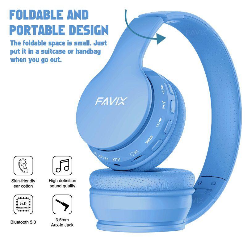 Fone Ouvido Favix B01 Pro Headset Sem Fio SuperBass Radio Fm Entrada Cartão Auxilar Bluetooth Azul  - HARDFAST INFORMÁTICA