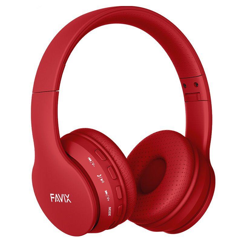 Fone Ouvido Favix B01 Pro Headset Sem Fio SuperBass Radio Fm Entrada Cartão Auxilar Bluetooth Vermelho  - HARDFAST INFORMÁTICA