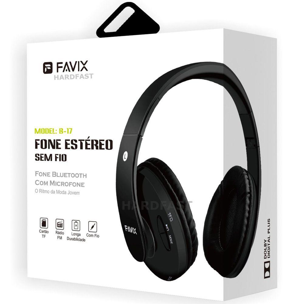 Fone Ouvido Favix B17 Sem Fio Fm Cartão Mega Bass Spotify Universal  - HARDFAST INFORMÁTICA