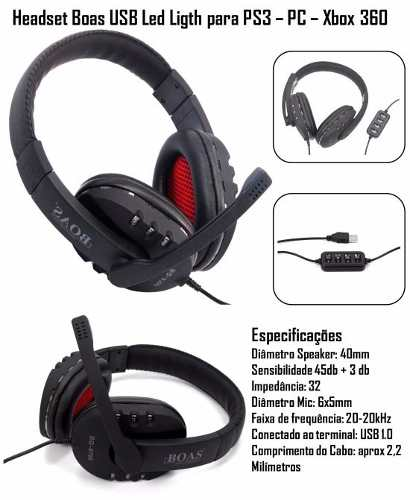 Fone Ouvido Headset 7.1 Stereo Microfone USB Controle Volume Pc Notebook Xbox Playstation B10  - HARDFAST INFORMÁTICA