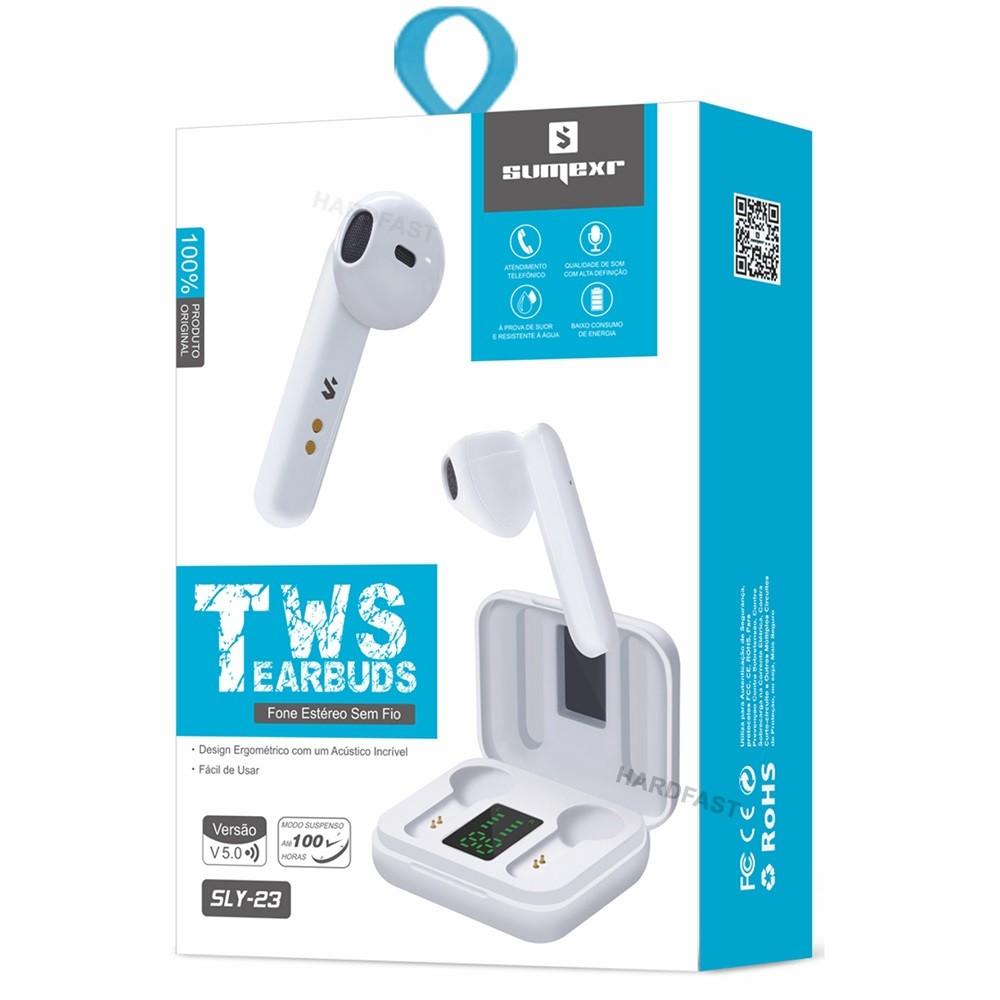 Fone Ouvido Mini Sem Fio Sumexr Sly23 Hearbuds Foninho Bluetooth 5.0 com Display  - HARDFAST INFORMÁTICA