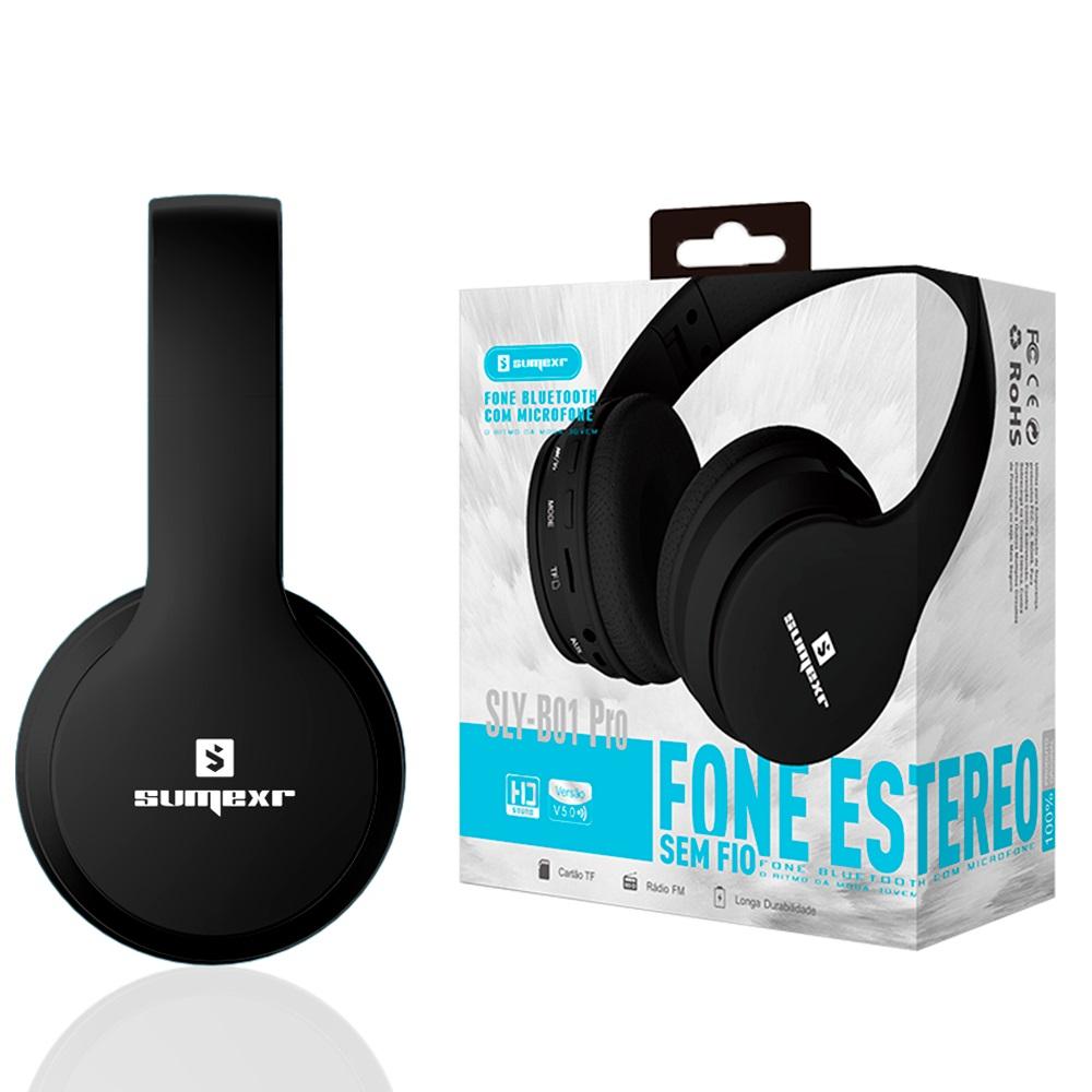 Fone Ouvido Sumexr B01 Pro Headset Sem Fio SuperBass Radio Fm Entrada Cartão Auxilar Bluetooth Preto  - HARDFAST INFORMÁTICA