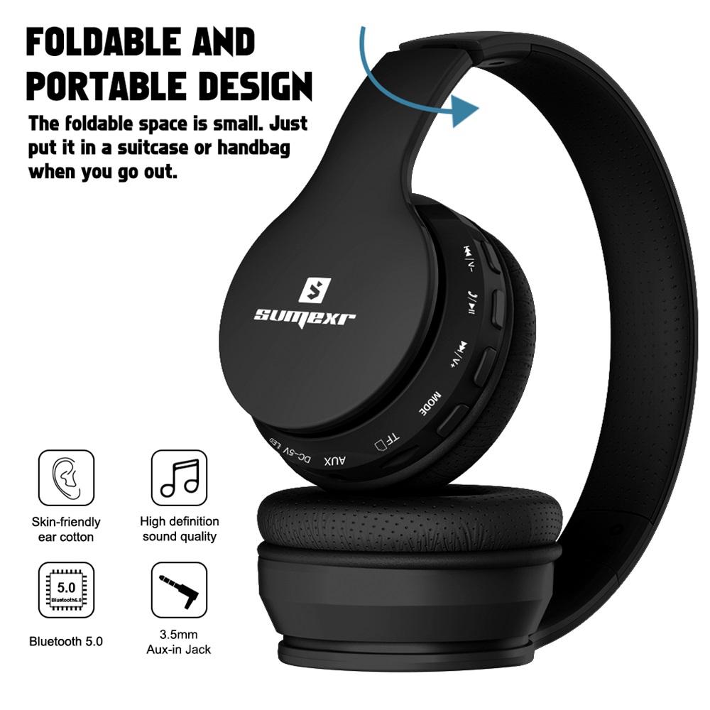 Fone Ouvido Sumexr B01 Pro Headset Sem Fio SuperBass Radio Fm Entrada Cartão Auxilar Bluetooth Preto Favix  - HARDFAST INFORMÁTICA