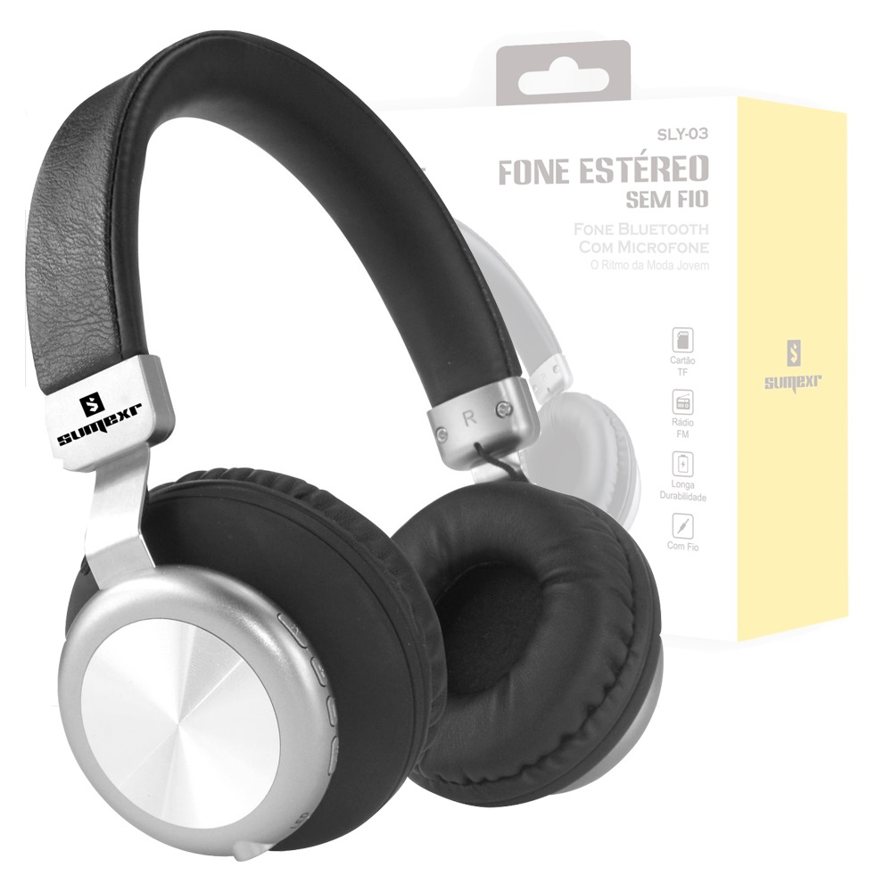 Headfone Fone sem Fio Bluetooth 5.0 SumeXr Sly-03 Radio Fm Auxiliar Sd Card Aluminium Stereo Bass Favix  - HARDFAST INFORMÁTICA