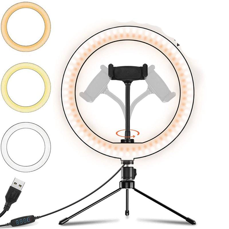 Iluminador led Ring Light 26Cm Tripe de Mesa kit iluminação  - HARDFAST INFORMÁTICA
