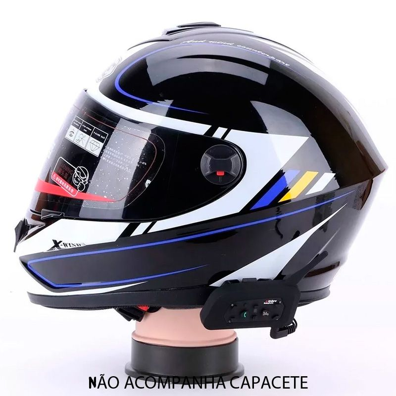 Intercomunicador Bluetooth Moto V6 Plus Capacete Kit 2x par Gps mp3 Wlxy  - HARDFAST INFORMÁTICA