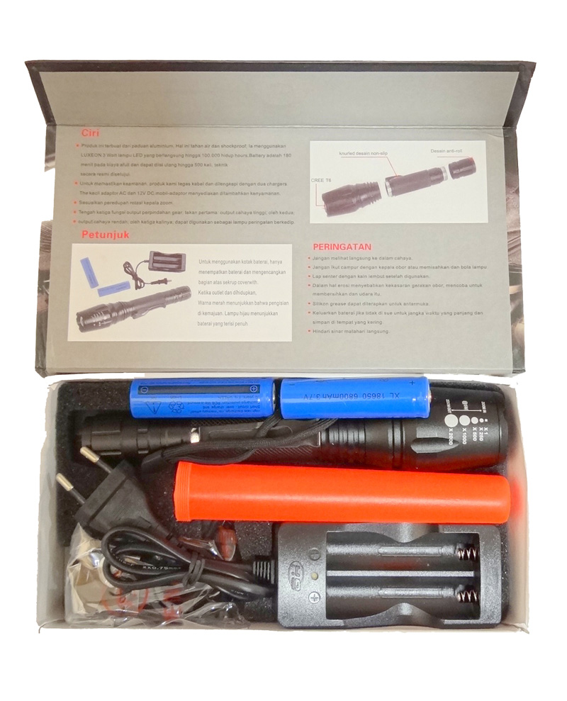Lanterna Tática Led 16500W 2x Baterias Carregador Sinalizador  - HARDFAST INFORMÁTICA