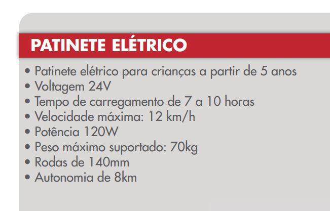 Patinete Elétrico 24V Cinza - Importway  - HARDFAST INFORMÁTICA