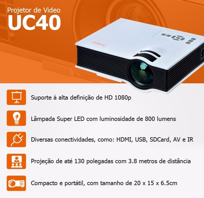 Projetor Led Uc40+ 800 Lumens Hd Hdmi Data Show Xbox Ps4 Uc40 1080p Notebook - HARDFAST INFORMÁTICA