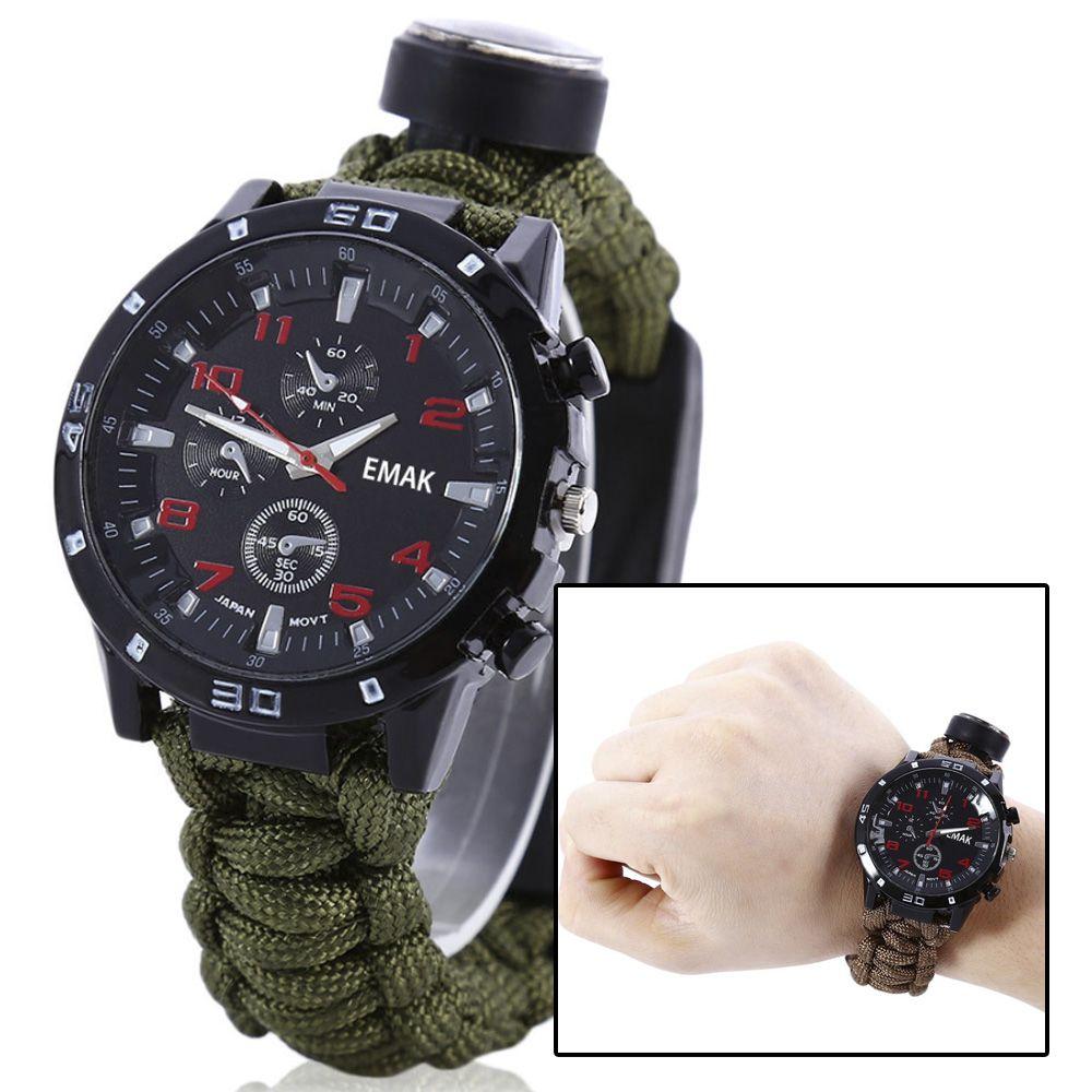 Relógio Tático Sobrevivência Paracord Pederneira Bussola 5x1  - HARDFAST INFORMÁTICA