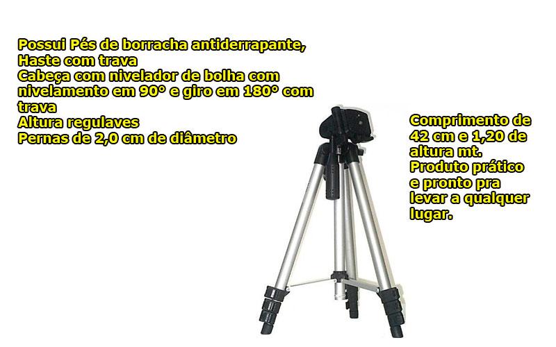 Tripé Alumínio Camera Digital Profissional 1.2 Metros C/ Nível + Bolsa brinde  - HARDFAST INFORMÁTICA