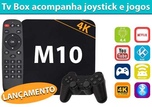 Tv Box Android 4.4 Tv Modelo M10 4k Gamer Netflix Quad Wifi Facebook Miracast Jogos Snes  - HARDFAST INFORMÁTICA
